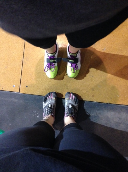 Above are my friend, Jackie's awesome Reebok Lifters. Below are my Vibrams that I have recently been lifting in.